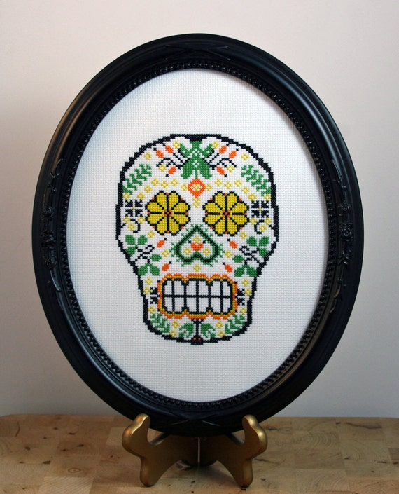 Sugar Skull (version 4) - Framed Cross Stitch (Made to Order)
