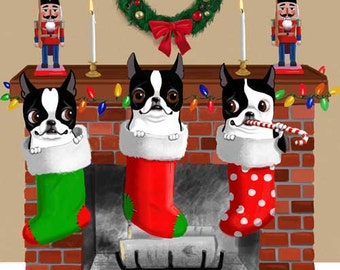 Boston Terrier Christmas Stockings