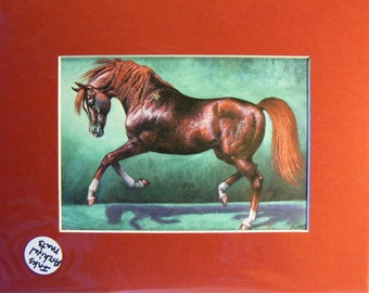 Black Cherry Arabian horse reproduction 5x7 giclee print in 8x10 mat equine art by Kerry Nelson