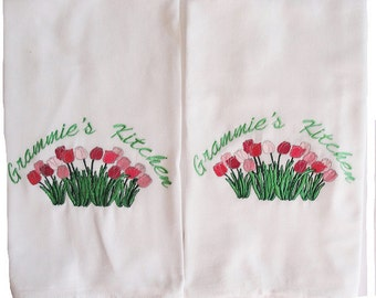 A Pair of Tulip Embroidered and Personalized Flour Sack Towels