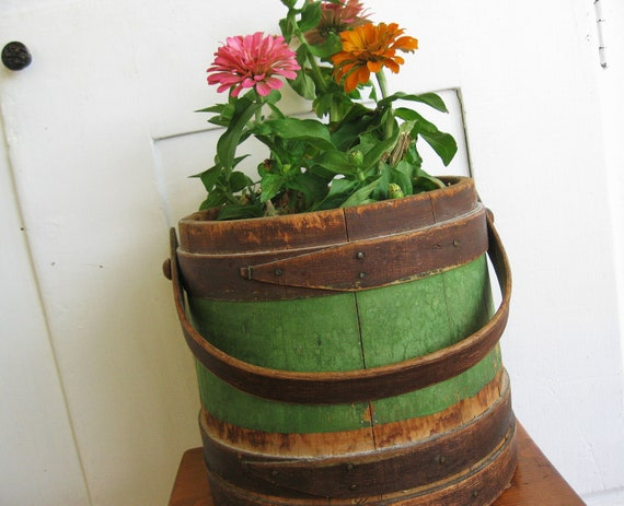 Pail in Comparison...Vintage Primitive Rustic Wooden Pail Wringer Firkin Sap Bucket With Wooden Handle