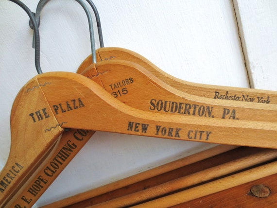 Too Many Hang Ups... Vintage Industrial Advertising Wooden Clothes Hangers Pennsylvania and New York