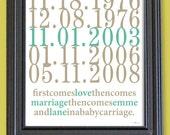 Subway Art Custom Dates - 8x10 - Love and Marriage - Family