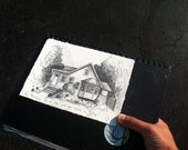 8x10 Custom House Portrait in Pencil on Twinrocker Handmade Paper - Would make a great house warming gift