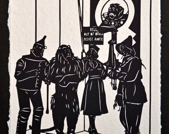 Sale 20% Off // The WIZARD of OZ Papercut - Hand-Cut Silhouette// Coupon Code SALE20