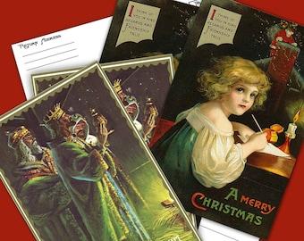 Vintage Printable Christmas Postcards Instant Download