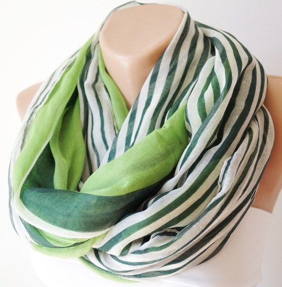 Apple green, dark green and white stripe  Cotton Scarf
