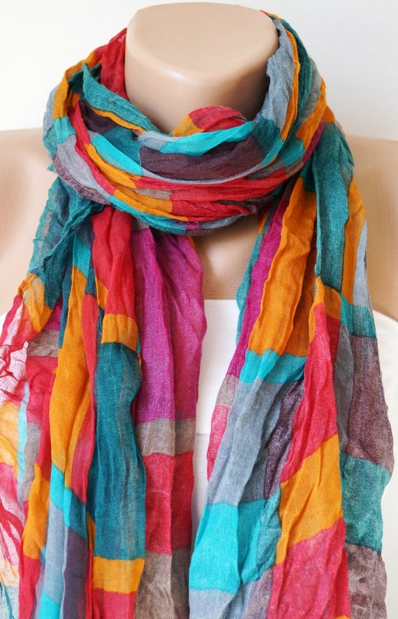 Rainbow Colorful Long Scarf,  Shawl with wrinkle