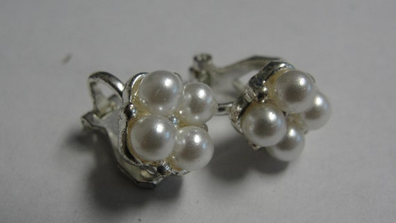 Four White Simulated Pearl Silvertone Clip Earrings