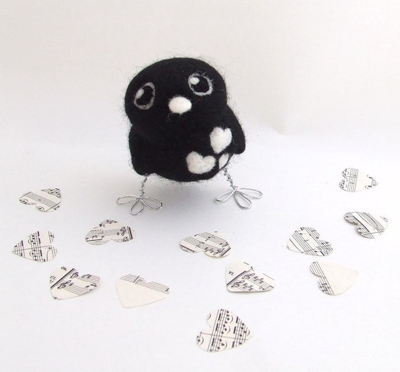 Sale Needlefelted Black Love Bird Monochrome Hearts