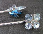 Vintage Sapphire color and Light Blue Rhinestone Hair Pin Set