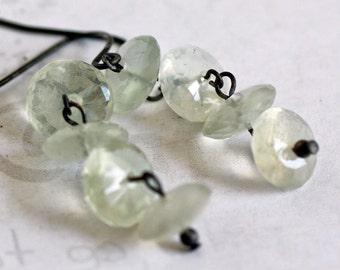 Moonstone Oxidized Sterling Silver Earrings, Black and White Gemstone Designer Earrings, Modern Moonstone Dangle Earrings