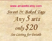 Sweet Confections Tags, Baked Goods Tags, Candy Buffet Labels,Candy Buffet Tags,Wedding Favor Tags,Special Offer - Any 5 Sets for 20 Dollars