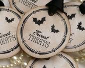 Halloween Tags - Round Favor Labels Vintage Set of 5 - Round Vintage Style Handmade Food Labels