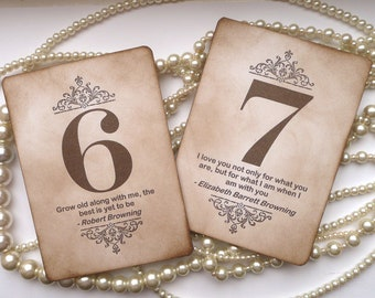 Wedding Table Numbers, Vintage Table Numbers, Quotes Table Numbers, Amaretto Wedding, Vintage Wedding Signs, Wedding Place Cards, Favor Tags