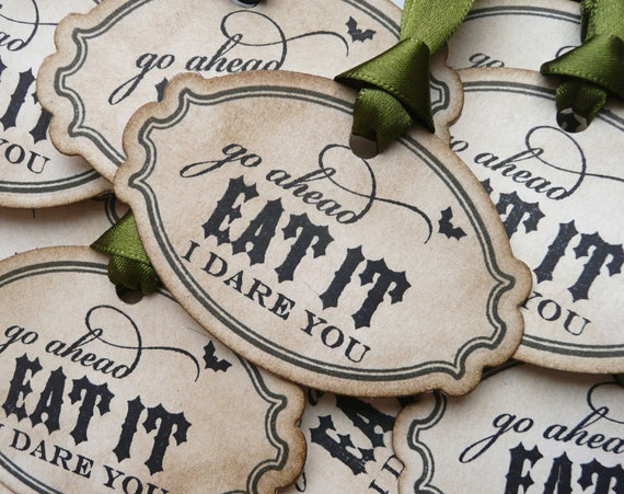 Halloween Tags - Treat Bag Labels - Vintage Style - Set of 12 Olive Ribbon
