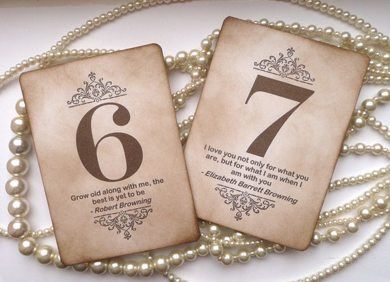 Wedding Table Numbers - Vintage Charm with QUOTES - Custom Listing