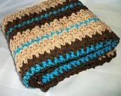 Crocheted DIsh Towel or Hand Towel, Brown and Blue Stripes