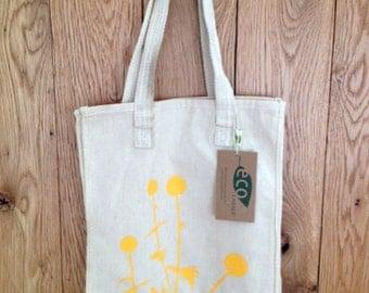 Earth friendly grocery tote made from recycled cotton with two sided floral prints
