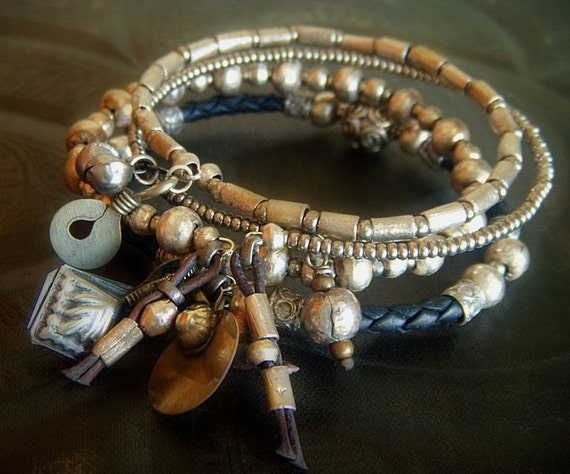 African Silver Nickel, Bali Silver and Glass Bolo Leather Beaded Charm Bangle Set