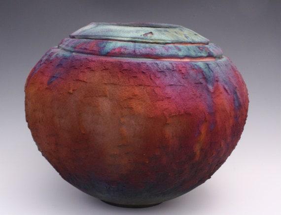 Ceramic Purple Blue Matte Raku Vase Ceramic Pottery