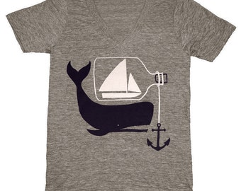 Ship & Whale - Vneck Nautical T-Shirt Tee Shirt Anchor Sea Sailing Sail Boat Ship in a Bottle Rope Triblend Athletic Grey V-Neck Tshirt