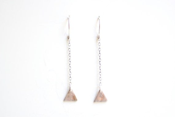 Fine Silver Triangle Earrings - Sterling Silver