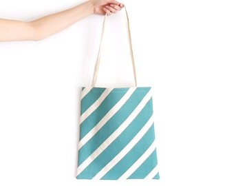 Canvas Tote Bag Sage Barber Stripe