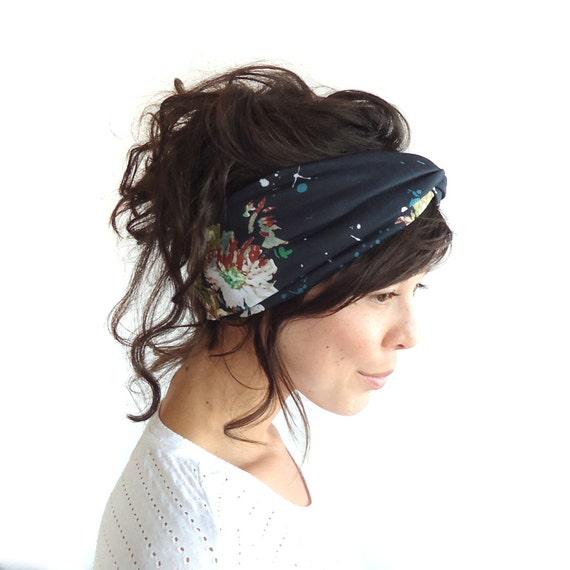 Turban Headband Black Floral