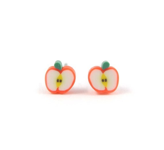 Apple Earring Studs - Apple Earring Posts - Fruit Earring Studs - Free Shipping Etsy