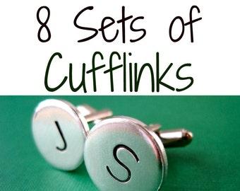 8 Sets of Personalized Cufflinks - Mix and Match Any Style - Aluminum Custom Cuff links