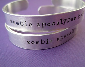 Personalized Bracelet - Zombie Apocalypse Buddy - Set of 2 - 3/8