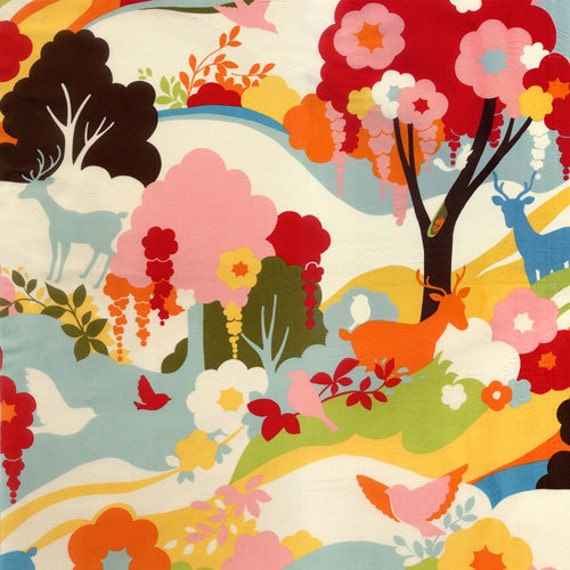 Oh Deer Japanese fabric by Momo for Moda, Enchanted Forest in Creamsicle-1 Yard