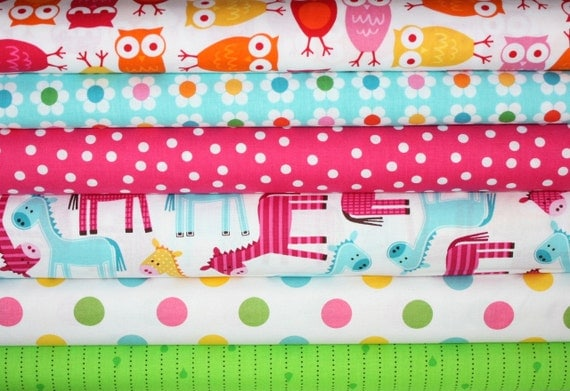 Girl's Day Trip Urban Zoologie and Remix Fabric by Ann Kelle for Robert Kaufman- 1/2 Yard Bundle- 6 total