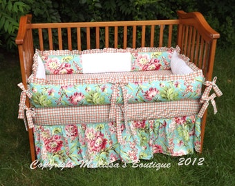 Custom Coral and Aqua/Turquoise Floral Baby Nursery 3-Piece Ruffled Crib Bedding Set made with Designer Fabrics