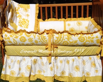 "Custom ""You Are My Sunshine"" Yellow & White 4-Piece Complete Boutique Crib Nursery Bedding Set"