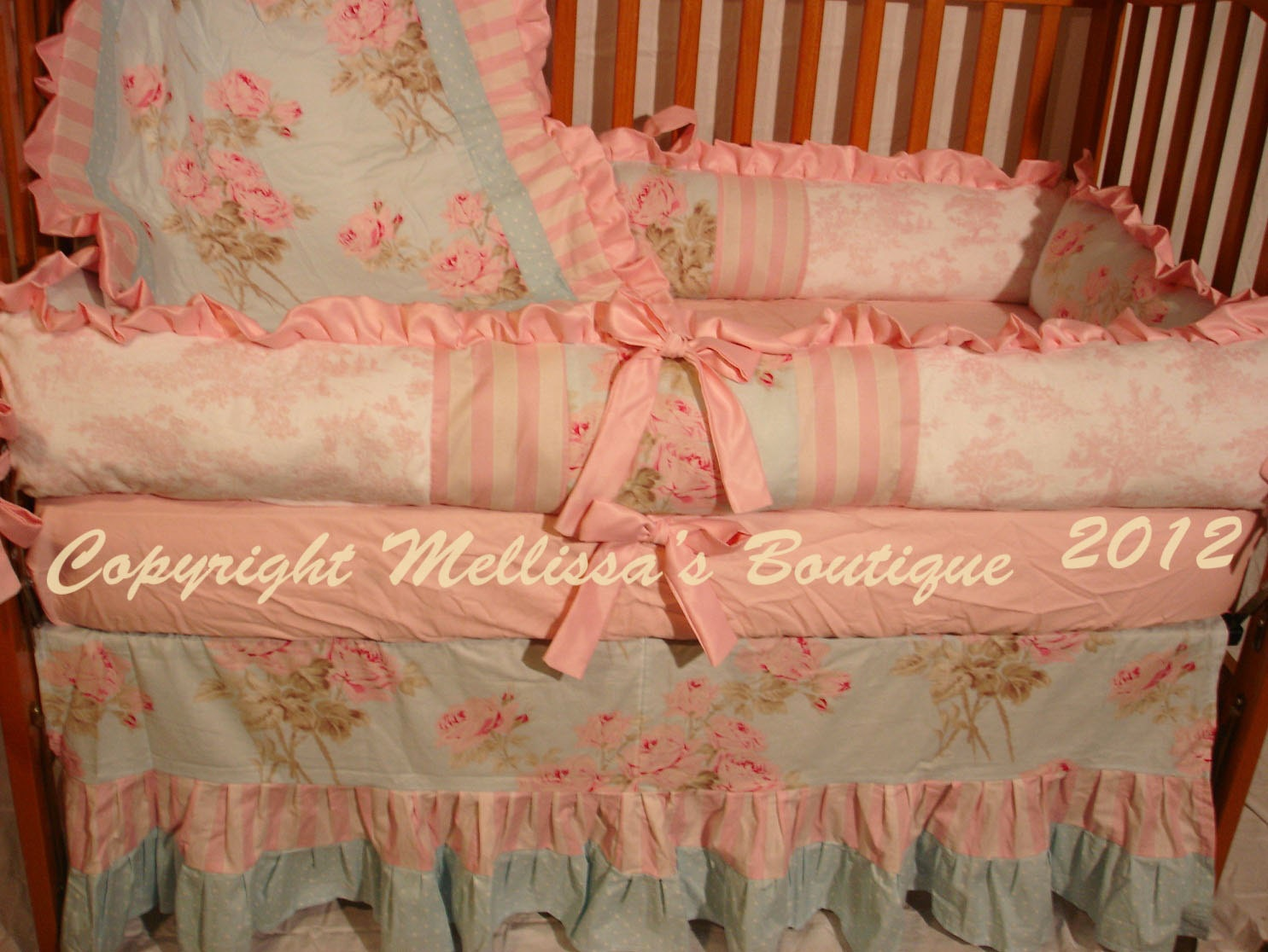 Custom Shabby Chic Pink And Blue Roses Toile Luxury Ruffled