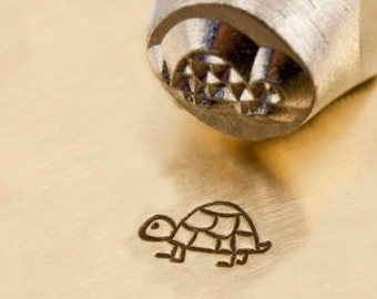 Design Stamp - SHELLY the TURTLE - 6mm stamped image by ImpressArt -  includes How to Stamp Metal tutorial