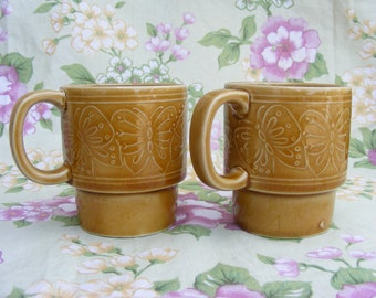 Harvest Gold Butterfly Retro Stacking Ceramic Coffee Mugs