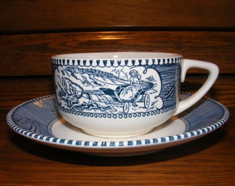 Farmhouse Country Blue Transferware Teacup and Saucer