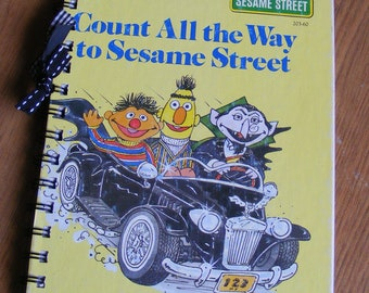 Count All the Way to Sesame Street Little Golden Book Recycled Journal Notebook