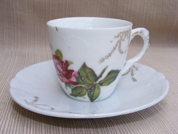 Small Pink Rose Teacup and Saucer