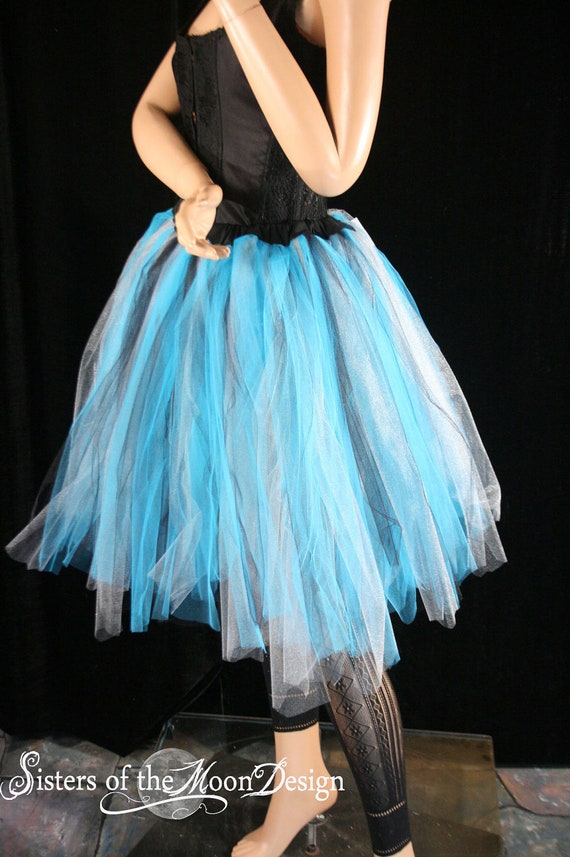 streamer knee length tutu skirt turquoise by sistersofthemoon