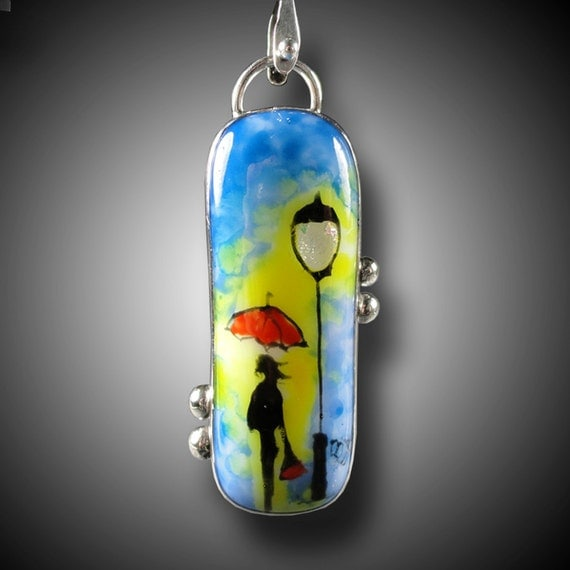 UMBRELLA PENDANT Sterling Silver  Pendant with Handpainted Fused Glass Cab