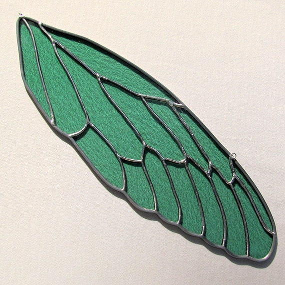 Stained Glass Cicada Insect Wing Suncatcher Sea Green