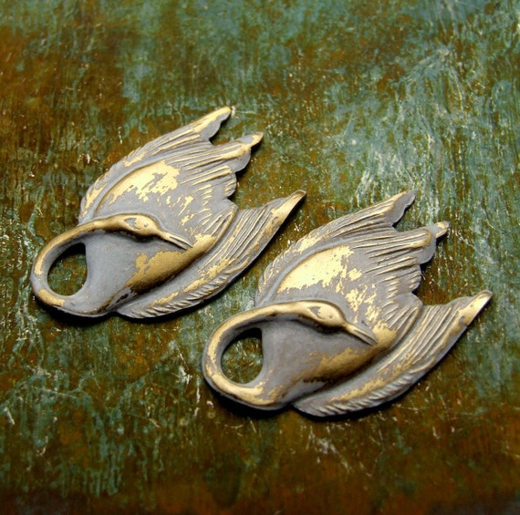 Swan Charms - Distressed White Patina - Brass Bird Charms - Swan Lake - Patina Queen - 2