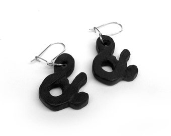 Ampersand Ebony Wood Hand Carved Earrings by Tanja Sova