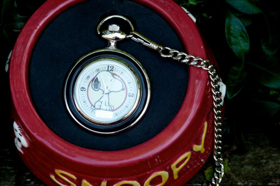 Vintage Fossil Snoopy Pocket Watch