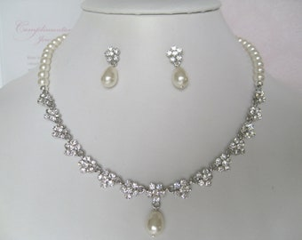 Bridal Jewelry - Bride Necklace - Bridesmaid Necklace - Rhinestone and Pearl Floral Bridal Jewely Set II