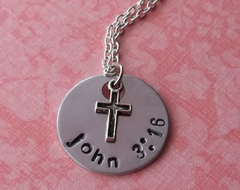 Handstamped John 3:16 Bible Verse Necklace